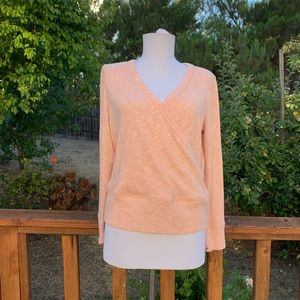 Anthropologie Pink Ribbed Wrap Long Sleeve Tee
